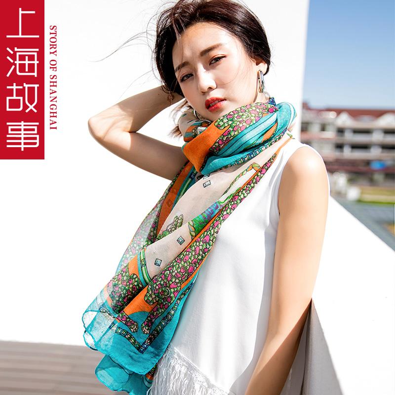 上海故事超大韩版长款春夏季百搭丝巾文艺围巾女印花棉麻防晒披肩