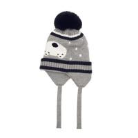 户外运动套头帽子男女童针织毛线帽韩版大毛球球护耳帽保暖帽