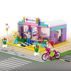 【当当自营】小鲁班新粉色梦想小镇女孩系列儿童益智拼装积木玩具 美发形象店M38-B0526