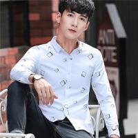 男士长袖衬衫韩版修身商务休闲衬衣2017秋季新品寸衫青年潮流衣服