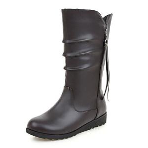 ELEISE美国艾蕾莎新品秋冬180-17-5韩版超纤皮内增高女士中筒靴