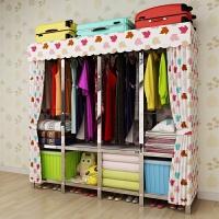 衣柜简易不锈钢钢架加固折叠组装拉链布艺衣橱租房挂衣柜简约现代 2门
