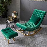 北欧摇椅沙发懒人躺椅老人孕妇椅单人阳台午睡逍遥椅家用休闲 荷兰绒 墨绿色+脚蹬+抱枕