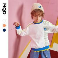 【2件3折后价:129】MQD童装男童卫衣2021秋装新款儿童圆领3D卡通字母嵌条运动