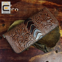 原创手工拉链长款钱包男女真皮钱包头层牛皮手机包复古皮雕手拿包