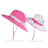 亲子渔夫帽帽子防晒遮脸帽子 户外太阳帽女童防紫外线防晒儿童女沙滩帽