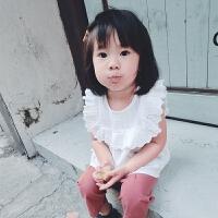 女童衬衫春秋2018新款白色韩版女宝宝纯棉洋气花边儿童衬衣