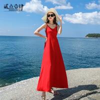 夜店性感大露背夜场吊带连衣裙女装夏天a型外穿海边度假沙滩长裙