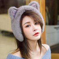 耳罩冬天加厚保暖仿皮毛一体女可爱猫耳耳套毛毛护耳耳包耳捂耳暖