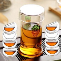 琉璃杯�t茶�G茶泡茶器耐高�夭AР杈卟�仉p耳琉璃杯不�P��^�V公道杯泡 +8品茗杯水杯杯子