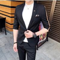20180527035236110夏夜店潮男七分袖西服套装男韩版时尚发型师中袖西装九分裤两件套