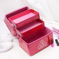 多层化妆包大容量便携化妆品收纳箱美容箱美甲箱化妆盒手提化妆箱 红色
