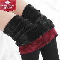 俞兆林秋冬新品紫红绒护腰打底一体裤 女士锦纶打底外穿踩脚裤
