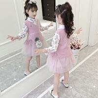 女童长袖连衣裙春装儿童毛衣裙套装裙两件套春秋