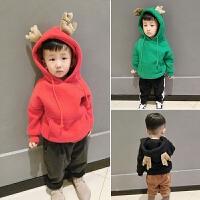 2017冬款新款童装 韩版圣诞鹿卡通卫衣 纯色儿童鹿角双层加厚外套
