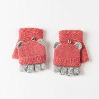 学生两用翻盖露半指手套女冬 保暖 可爱毛线半截手套女冬