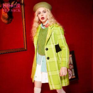 妖精的口袋盗走时光冬装格纹编织呢子大衣学院风毛呢外套女长款