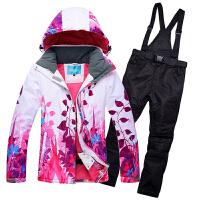 2018滑雪服套装情侣款 冬季加厚大码防风防水单双板保暖男女滑雪衣裤