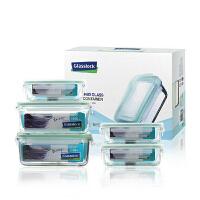 GLASS LOCK三光云彩微波炉钢化玻璃保鲜盒便当饭盒5件套装GL63-A