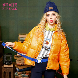 【3折价214.2元】妖精的口袋自然博物馆秋冬欧美时尚百搭纯色高领斗篷型羽绒服女