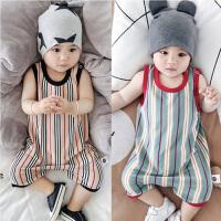 婴儿连体衣夏季男女宝宝夏装无袖平角条纹哈衣新生儿满月爬服01岁