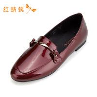 红蜻蜓女鞋新款平底方头女浅口百搭套脚豆豆鞋低跟单鞋