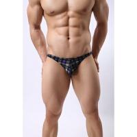 男士情趣内裤新款时尚格子条纹冰丝低腰细边性感三角裤