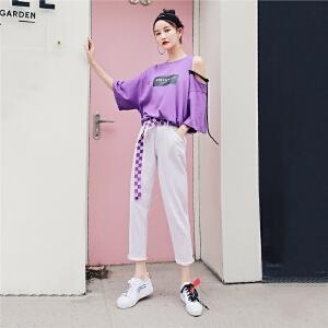 七格格紫色chic牛仔裤女夏2018新款高腰直筒九分裤宽松显瘦韩版学生百搭
