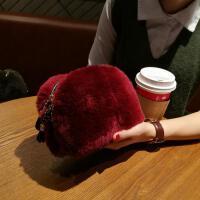兔毛手拿包女个性女士迷你手拿毛茸茸礼服獭兔粉色暖手花朵拿手冬季盒子包袋手拿毛毛