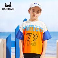 【99选3】巴拉巴拉旗下巴帝巴帝童装男童t恤2019春夏新款篮球服短袖上衣字母宽松149