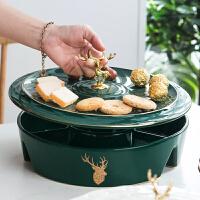 年货果盘美式轻奢风家用客厅茶几分格带盖干果盘欧式糖果零食装盘