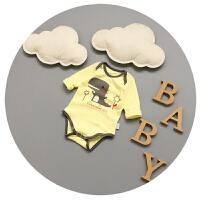 婴儿连体衣纯棉男宝宝衣服夏季新生儿长袖三角哈衣薄款0-3-6个月