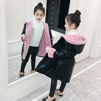 冬装韩版洋气中大童加绒大衣冬儿童加厚外套潮衣女童皮衣