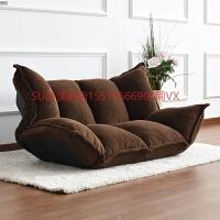 多功能日式榻榻米懒人沙发折叠床单双人创意可爱电脑椅卧室小沙发 咖啡色(珊瑚绒)送靠枕 送货到家