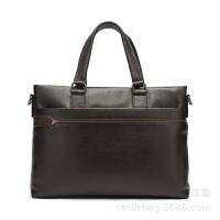 欧美男士商务手提包 时尚业务员男包包 休闲头层牛皮公文包电脑包