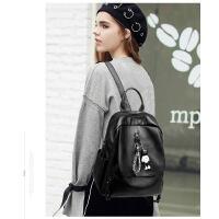 黑色双肩包女 潮韩版休闲百搭时尚软皮书包女士背包女包包