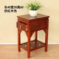 中式实木花架电话桌花盆景架客厅置物架多层角几花几床头柜桌抽屉