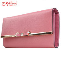 金利来goldlion女士长款牛皮钱包礼盒 两折款 AGB01503003-224粉红
