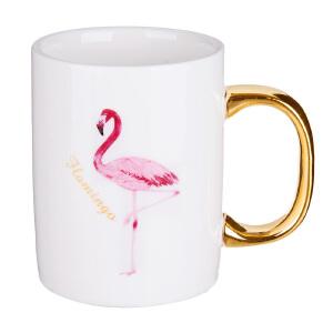奇居良品 ins风火烈鸟马克杯骨瓷陶瓷早餐杯创意办公室情侣对杯