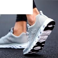夏天运动鞋男鞋网面鞋飞线跑步鞋男网鞋夏季学生黑色鞋子男潮