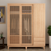 日式实木衣柜抽屉小户型卧室北欧原木家具现代简约白橡木衣橱 3门;组装