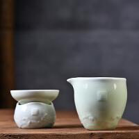 公道杯茶漏组套装紫砂哥窑青瓷功夫茶具套装耐热分茶配件茶滤茶漏