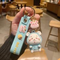 仓鼠钥匙扣老鼠挂饰鼠年吉祥物情侣汽车钥匙链圈新年礼物
