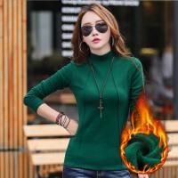 时尚纯色加厚加绒修身韩版女士半高领上衣 打底衫t恤衫