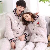 情侣睡衣三层加厚珊瑚绒夹棉立领休闲大码家居服套装可外穿