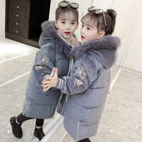 新款儿童冬装羽绒外套大童装洋气棉袄中长款加厚女童棉衣