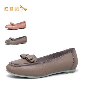 红蜻蜓尖头低跟舒适蝴蝶结时尚女单鞋