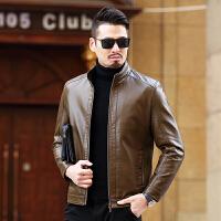 2018春装新款中年男士皮衣立领夹克时尚潮男修身短款仿皮休闲外套