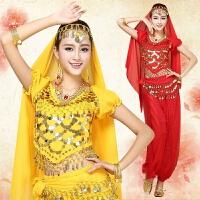 新款肚皮舞服装演出服套装 印度舞蹈服装演出服 练习服女短袖 均码