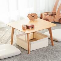 橙舍 两相望飘窗几 日式简约小桌子带框两坐垫竹家具创意榻榻米茶几
